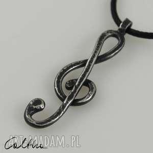 Klucz wiolinowy - srebrny wisior, wisiorek, zawieszka, muzyka, srebro