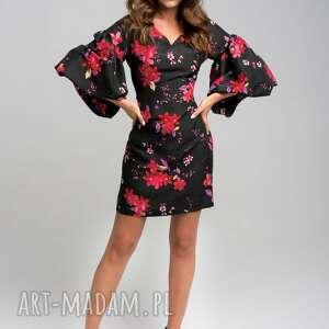 sukienki maloon jedwabna mini sukienka w kwiaty, kwiaty