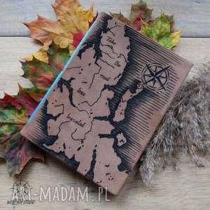 notesy dziennik podróżny a5 ze skórzaną twardą okładką i elastycznym grzbietem - mapa