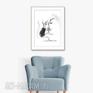 grafika biało czarna, pocałunek 2, 34 x 46, abstrakcja, minimalizm, obraz