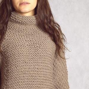 kakaowy sweter, oversize, alpaka, golf, półgolf, dziergany swetry