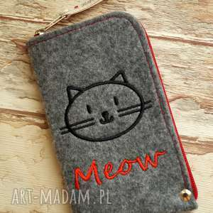 filcowe etui na telefon - meow, smartfon, pokrowiec, koty, modne, prezent, z-haftem