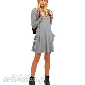 Tunika z kieszeniami, sukienki, rozkloszowane, kieszenie, midi