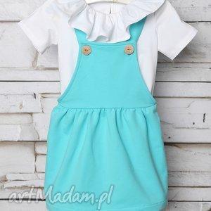 ubranka sukienka ogrodniczka lazur 62-98, ogrodniczka, szelki, elegancka dla dziecka