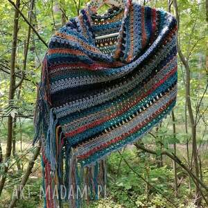 buenaartis w stylu navajo hippie szal, rękodzieło, szydełkowy szal z wełny