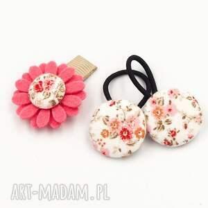 dla dziecka komplet kwiatek i gumeczki florence pink, do włosów