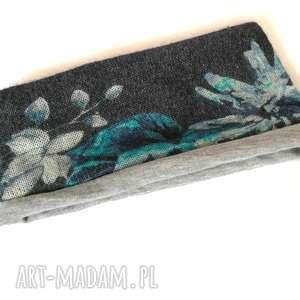 opaska niebiesko-grafitowo-szara dzianinowa wełniana ciepła, wełna, kwiaty, ciepła