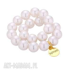 biała gumka do włosów z pereł swarovski elements ze złotą zawieszką, gumka