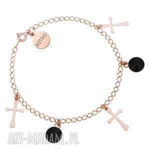 Prezent Bransoletka z krzyżykami różowego złota i czarnymi kryształami SWAROVSKI®