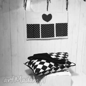 hand-made pościele narzuta biało-czarne romby 130x230cm