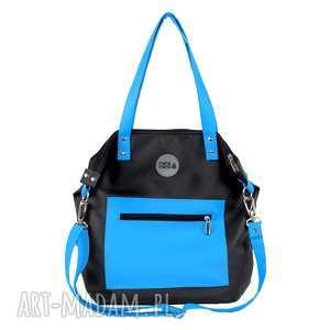 torba na ramię waterproof turkusowo czarna, damska torebka, do pracy