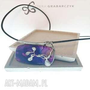 estera grabarczyk wisior z fioletowym agatem, agat, biżuteria autorska