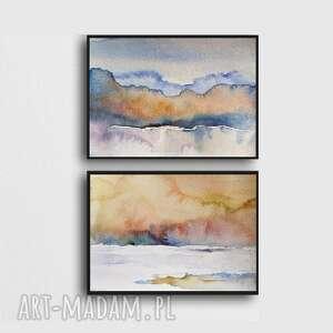 pejzaże-dwie prace wykonane akwarelą, akwarele, papier, pejzaż, farby