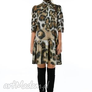 dobromiła - szyfonowa suknia w panterkę, szyfonowa, midi, panterka, sukienka
