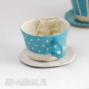 ceramiczna filiżanka z koniem - niebieska w kropki, ceramika, kubek