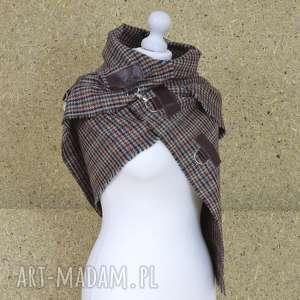 Szal, chusta, ponczo w kratkę - kolory jesieni, ponczo, szal, ramiona, wełna