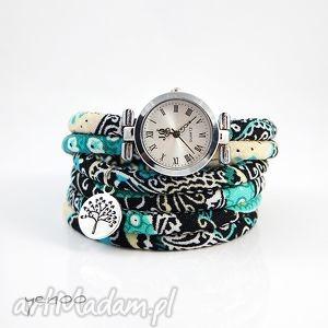 zegarki zegarek, bransoletka - turkusowy boho owijany, bransoletka