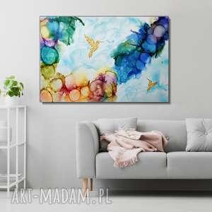 - kolibry w tęczowej mgle 120x80 cm obraz ręcznie malowany, prezent