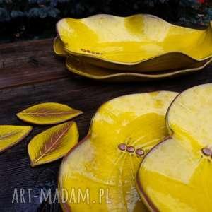 hand made ceramika liść - talerz i misa kolor yellow