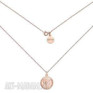 medalion z różowego złota z monetą - łańcuszek