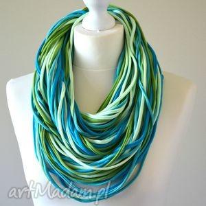 ręcznie robione szaliki naszyjnik dzianinowy niebiesko-zielony
