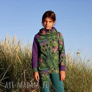 bluza dla dziewczynki 122-134 cm - pawie pióra, z kapturem, kolorowa