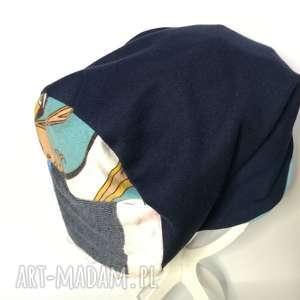 czapka granatowa dzianina handamade długa , czapka, etno, boho, kolorowa, sportowa,
