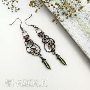 green fairy - długie kolczyki ze szklanymi koralikami, długie, wire
