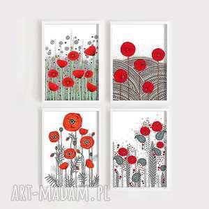 Zestaw 4 prac A4, kwiaty, maki, łąka, pole, grafika, obraz