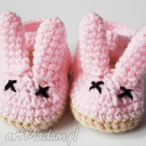 szydełkowe balerinki z uszami różowe, balerinki, szydełkowe, króliczki