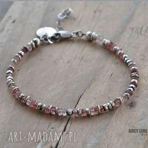 Różowy turmalin bransoletka v2, srebro, szlachetne, turmalin, różowy, surowa