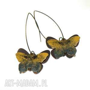 kolczyki z żółtymi motylami c320 - żółty motyl, motyl na prezent