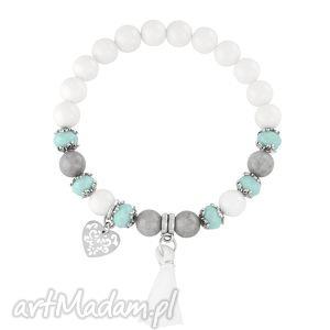 bransoletki tassel - white,mint grey , jadeit, kryształek, serce, chwost biżuteria