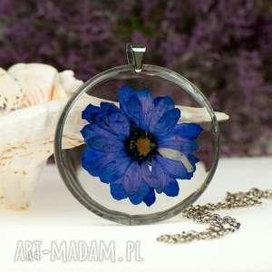 ręcznie robione naszyjniki naszyjnik z granatowym kwiatem w żywicy z86