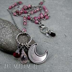 Amade Studio: podwójny długas z księżycem różowy, rubin, turmalin, długi