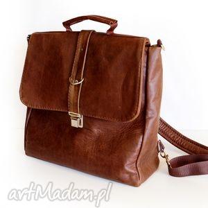 plecak / torba skóra kasztanowa pull up, pullup, skóra, naturalna, genuine