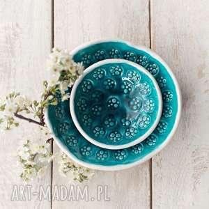 ceramika biało-turkusowe miski dwie, ceramika, glina, miska, miski, szkliwo