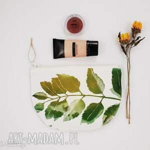kosmetyczka półksiężyc - ,kosmetyczka,las,liście,leśna,natura,drelich,