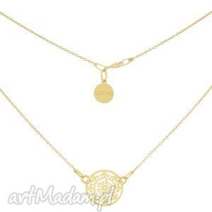 złoty naszyjnik z rozetą - łańcuszek, pozłacany