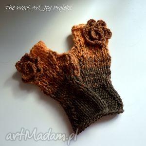 rękawiczki mitenki - rękawiczki, mitenki, ocieplacze, prezent, brąz