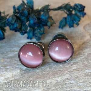 Prezent b614 Drobinki kocie oko -kolczyki srebrne, kolczykisrebrne, rózowe