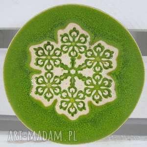 ceramika wiosenny limonkowy malutki talerzyk, fusetka, ceramiczna, zielony
