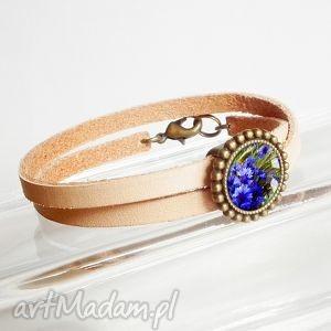 handmade bransoletki modna bransoletka z przekładką, prawdziwa skóra w kolorze naturalnym