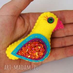 Prezent Ptaszek cekinowy broszka z filcu, filc, ptak, broszka, cekiny, błyszczący