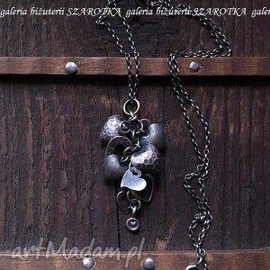 SERDUSZKOWO romantyczny naszyjnik ze srebra, serce, serduszka, srebro, oksydowane