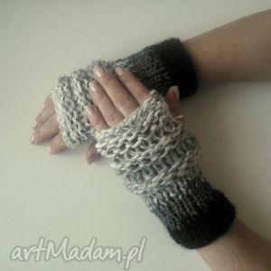 rękawiczki mitenki - rękawiczki, mitenki, jesienne, wełniane