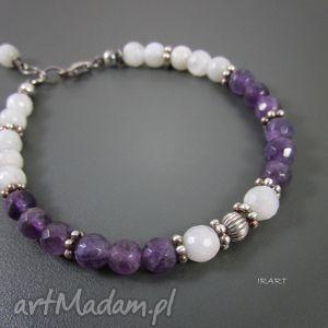 hand made bransoletki bransoletka z ametystu i kamienia księżycowego