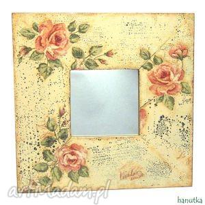 różane - lustro hanutka - różowe dom, róże
