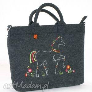 duża filcowa torba z haftem konika łowicza, torebka, torba, haftowana