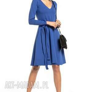sukienki rozkloszowana sukienka z dekoltem v, t323, chabrowy, elegancka
